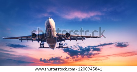 Landing airplane against colorful sky at sunset. Landscape with aircraft is flying in the blue sky with orange and pink clouds. Travel background with passenger plane. Commercial airplane. Private jet #1200945841
