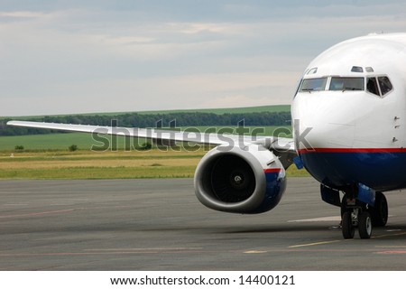 landing airplane in airport
