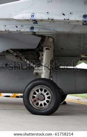 landing gear of military jet airplane