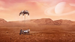 Landing of  Mars Rover on surface of red planet. Elements of this image furnished by NASA.