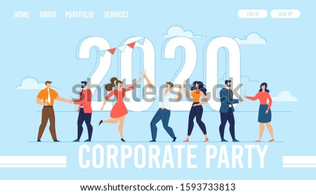 Landing Page for Organization Corporate Party. 2020 New Year Design. Huge Flat Numerals with Happy Tiny Cartoon People Characters Dancing and Enjoying Celebration. Trendy Illustration