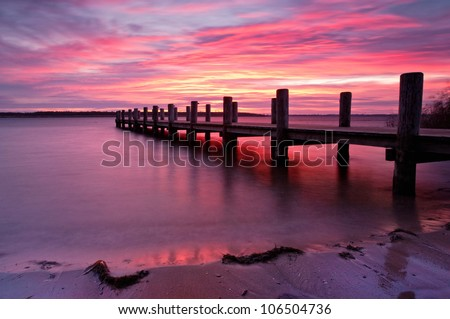 Landing Stage at Morning Light, sunrise