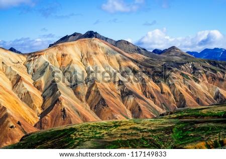Landmannalaugar colorful mountains landscape view, Iceland