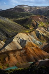 Landmannalaugar landscape seen from the top of Brennisteinsalda volcano, Fjallabak Nature Reserve, Central Highlands, Iceland