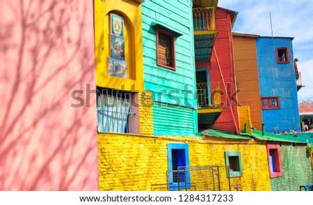 Landmark colorful El Caminito quarter in La Boca district of Buenos Aires, Argentina #1284317233