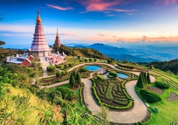 Landmark landscape  pagoda in doi Inthanon national park at chiang mai Thailand