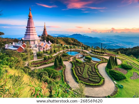 Landmark landscape  pagoda in doi Inthanon national park at chiang mai Thailand, They are public domain or treasure of Buddhism, no restrict in copy or use