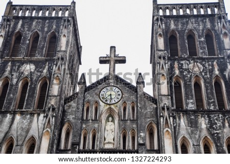 Landmark of Hanoi - St. Joseph's Cathedral is a church on Nha Chung Street in the Hoan Kiem District of Hanoi, Vietnam.
