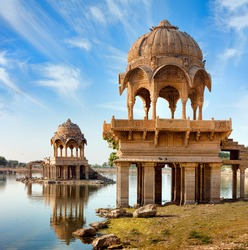 landmark of India and Rajasthan. Gadi Sagar (Gadisar) Lake is one of the most important tourist attractions in Jaisalmer, Rajasthan, North India.