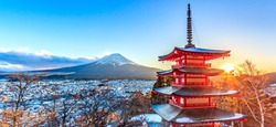 Landmark of japan Chureito red Pagoda and Mt. Fuji in Fujiyoshida, Japan