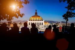 Landmark Palace of Fine Arts (Palacio de Bellas Artes) in Alameda Central Park near Mexico City Historic Center (Zocalo)