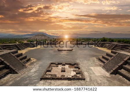 Landmark Teotihuacan pyramids complex located in Mexican Highlands and Mexico Valley close to Mexico City. Stockfoto ©