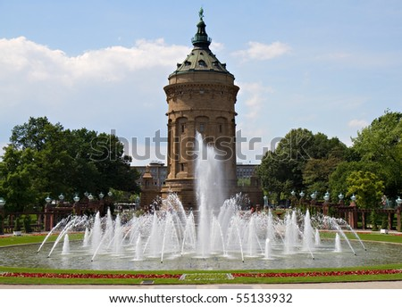 Landmark Water Tower - Wasserturm, Mannheim, Baden Wuertemberg, Germany