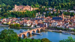 Landmarks and beautiful towns of Germany - medieval  Heidelberg . view with famous Carl Theodor bridge and castle
