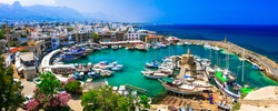 Landmarks and travel in Cyprus - turkish part  - beautiful Kyrenia town. View of old port