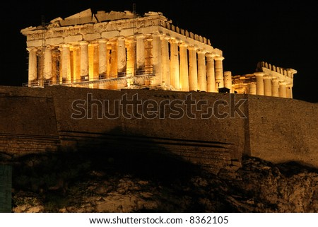 stock photo : landmarks of athens greece europe a night view of parthenon temple