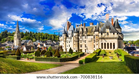 Landmarks of France- castles of Loire valley - impressive Langeais with beautiful gardens