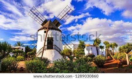 landmarks of Fuerteventura - traditional windmill in Antigua village. Canary islands