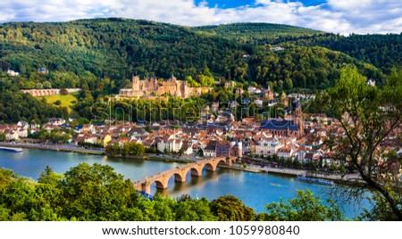 Landmarks of Germany - beautiful medieval Heidelberg town with impressive castle and bridge