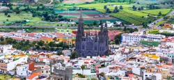 Landmarks of Grand Canary - historic town Arucas with impressive cathedral. Canary islands of Spain
