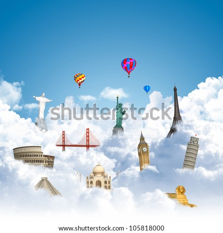 landmarks on the clouds as travel around the world dream concept