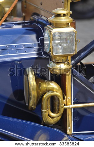 LANDSBERG, GERMANY - JULY 9: Oldtimer rally for at least 80 years old antique cars with detail lamp, photo taken on July 9, 2011 in Landsberg, Germany