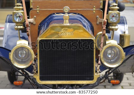 LANDSBERG, GERMANY - JULY 9: Oldtimer rally for at least 80 years old antique cars with Ford T, Runaboat, built at year 1911, photo taken on July 9, 2011 in Landsberg, Germany