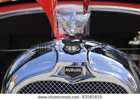 LANDSBERG, GERMANY - JULY 9: Oldtimer rallye for at least 80 years old antique cars with Auburn, Typ 6-66 A, built at year 1927, photo taken on July 9, 2011 in Landsberg, Germany - stock photo