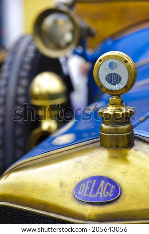 LANDSBERG, GERMANY - JULY 12, 2014: Public oldtimer rally in Bavarian city Landsberg for at least 80 years old veteran cars with a front view of Delage, built at year 1915