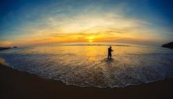 landscape. a decline, the fisherman on the seashore