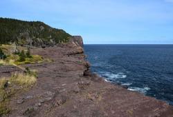 landscape along the Killick Coast, Big River Whirly Hole area in Flatrock seen  from the Stiles Cove Path, East Coast trail Avalon Peninsula; Newfoundland Canada