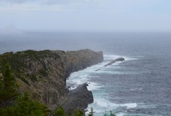 landscape along the Killick Coast, high angle view  along the Beamer Rock seen from the Father's Trail Path, East Coast trail Avalon Peninsula; Newfoundland Canada