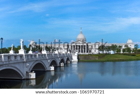 Photo of  Landscape and buildings of Chimei  art Museum in Tainan, Taiwan. With wide collections of Western art, musical instruments, weaponry and natural history, visitors will enjoy these timeless valuables.