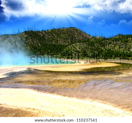 Landscape and Geysers of Yellowstone National Park - USA - stock photo