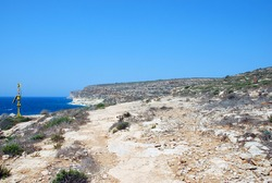 Landscape and seascape of Lampedusa. Italy, summer 2009. With la