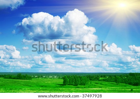 Landscape and sun.