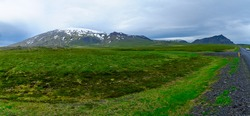 Landscape and the Snaefellsjokull volcano, in the Snaefellsnes peninsula, west Iceland
