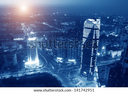 Landscape and urban centers with heavy traffic #141742951