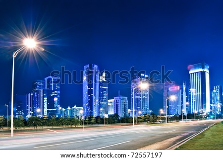 Landscape and urban centers with heavy traffic - stock photo