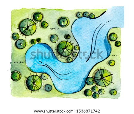Landscape architect master plan design by watercolor hand drawn painting with brushes strokes.Colorful splashing in the paper.Wet texture background for creative wallpaper,floral card and art work.