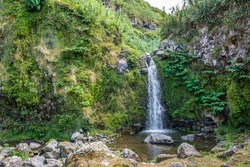 Landscape at Achadinha with waterfall and small lake dripping with stones with plants, São Miguel - Azores PORTUGAL