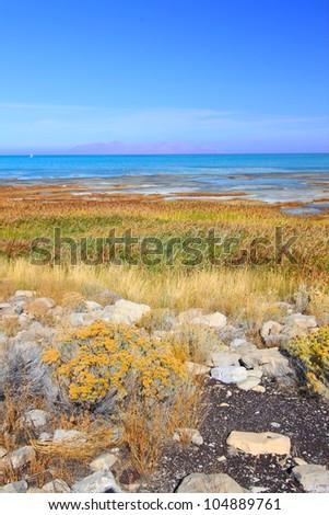 Landscape at Great Salt Lake State Park in northern Utah