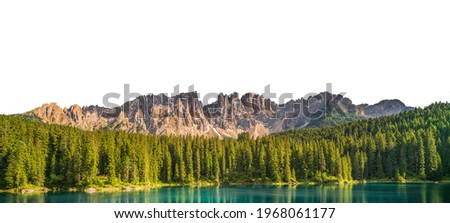 Landscape at Lake Carezza (Italian: Lago di Carezza; German: Karersee) with mountains isolated on white background Foto stock ©