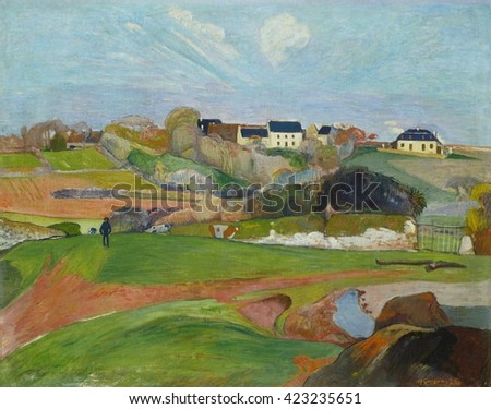Landscape at Le Pouldu, by Paul Gauguin, 1890, French Post-Impressionist painting, oil on canvas. Gauguin painted this from memory and sketches. Gauguin said, 'Don't copy nature too literally. Art is