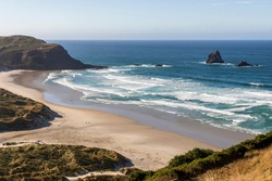 Landscape at Sandfly Bay in New Zealand