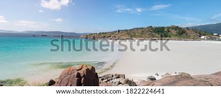 Landscape at the Beach of Pindo (in Spanish Playa de Pindo) Northern Spain Galicia Costa de Dexo Stok fotoğraf ©