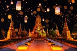 Landscape Ayutthaya Historical Park Loy Krathong Festival in Ayutthaya, Thailand.