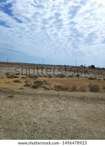LANDSCAPE/BAKU/AZERBAIJAN-AUGUST 2019: Landscape in Azerbaijan is arid #1496478923