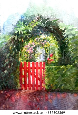 landscape. beautiful red gate...
