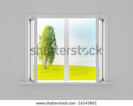 Landscape behind the open window. 3D image